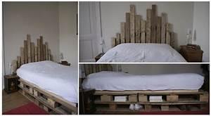 Comment Faire Un Lit En Palette : une t te de lit en palette et hauteur variable ~ Nature-et-papiers.com Idées de Décoration