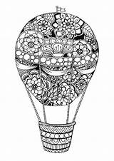 Balloon Coloring Air Pages Balloons Adult Colouring Digi Stamps Drawing Mandala Watercolor Draw sketch template