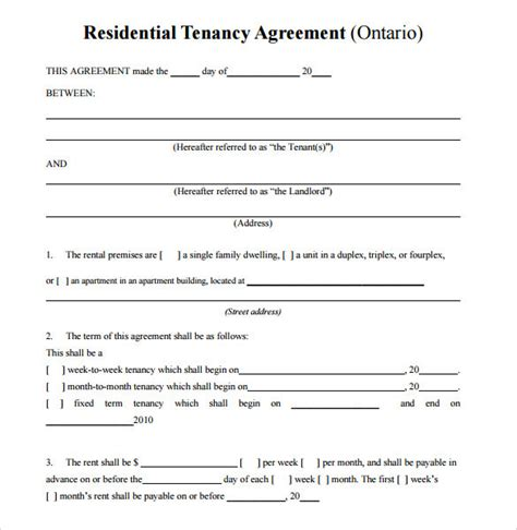 sample residential rental agreements sample templates
