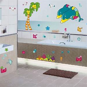 Bathroom tile stickers beautiful sea bathroom wall for What kind of paint to use on kitchen cabinets for vinyl wall art stickers