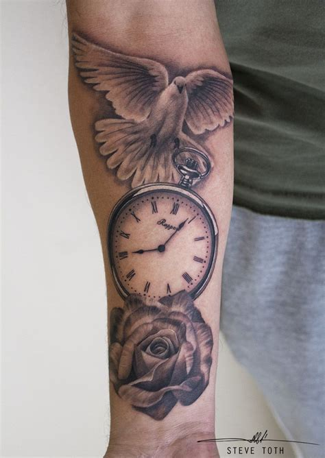 dove clock rose tattoo steve toth tattoos pinterest tattoo