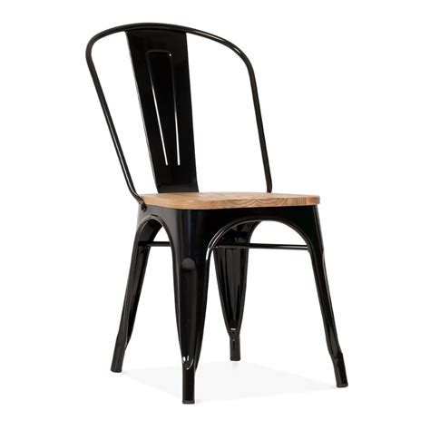 chaise industrielle metal black metal tolix side chair with elm wood seat cult