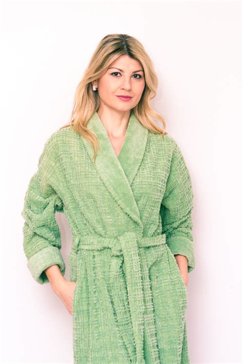 cross stitch chenille robe  shawl collar