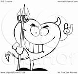 Devil Outline Heart Coloring Clipart Hit Illustration Royalty Toon Rf 2021 sketch template
