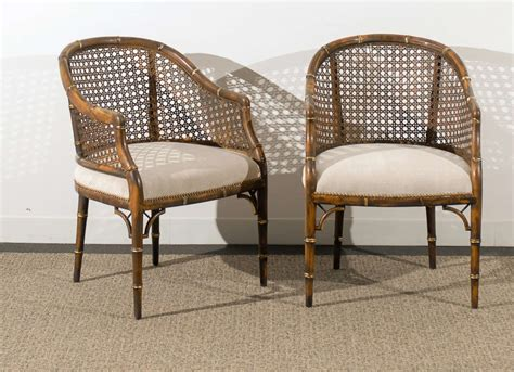 Beautiful Vintage Faux Bamboo/cane Barrel Back Chairs
