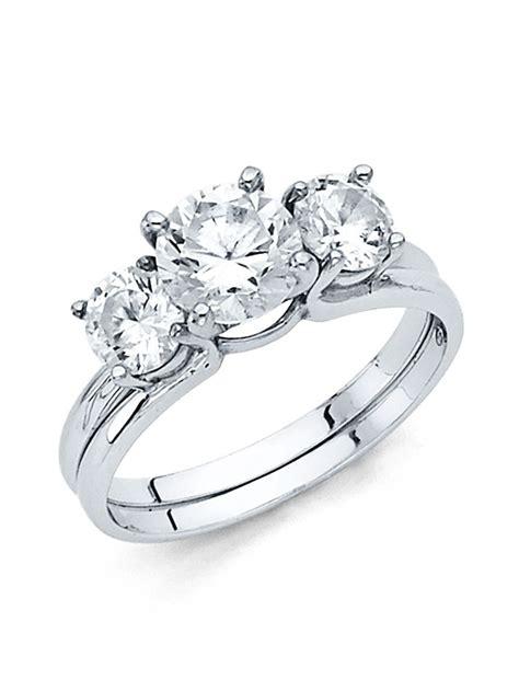 white gold  stone cz engagement ring wedding