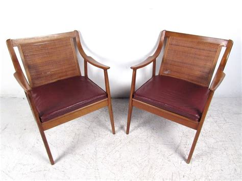 Pair Vintage Modern Cane Back Armchairs For Sale At 1stdibs