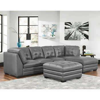 lawrence top grain leather sectional  ottoman living