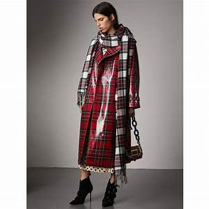 Trench Coat Burberry Homme : burberry laminated tartan wool trench coat bright red modesens ~ Melissatoandfro.com Idées de Décoration