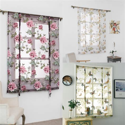 Rod Liftable Kitchen Bathroom Window Roman Curtain Floral