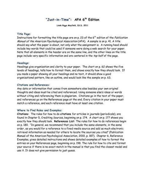 Apa 6th Edition Research Paper Template 25 Best Apa Format Template Ideas On Apa