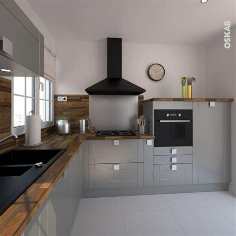 grille hotte cuisine cuisine équipée grise bois moderne filipen gris mat