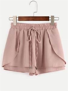 Pink Drawstring Waist Wrap ShortsFor Women-romwe