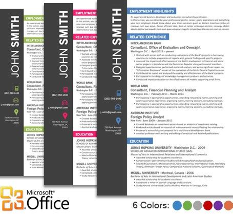 Word Resume Templates Microsoft Office by Office Resume Template Cover Letter Portfolio