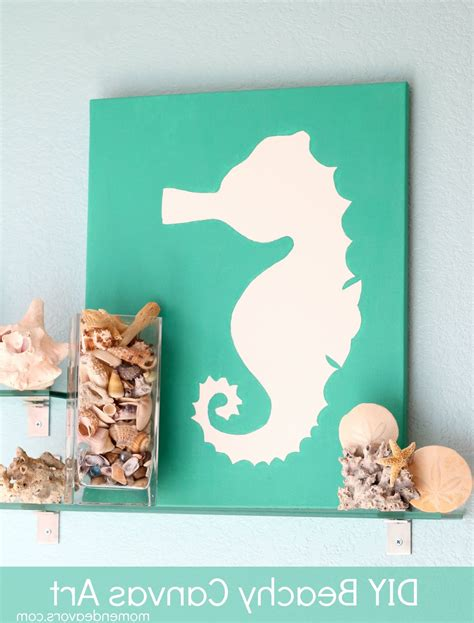 The wall is your canvas and driftwood is your material! 15 Inspirations of Beach Themed Canvas Wall Art