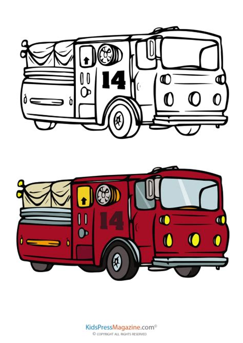 fire truck coloring page  fully colored reference kidspressmagazinecom