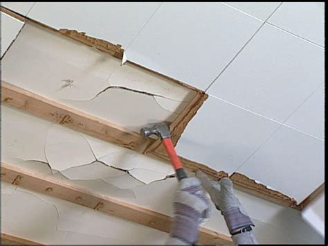 Staple Ceiling Tiles 12x12 by How To Replace Ceiling Tiles With Drywall How Tos Diy
