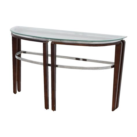 wood and glass table 71 glass and wood half hallway table tables 1563