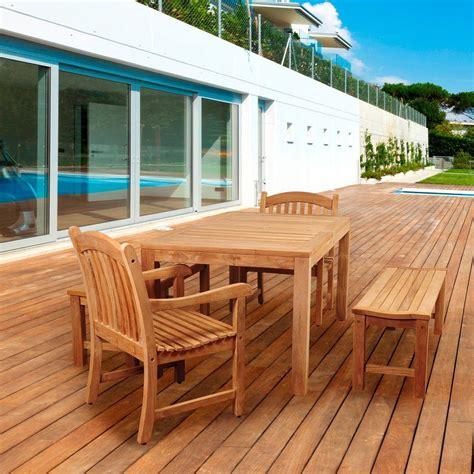 amazonia quin  piece teak rectangular patio dining set sc