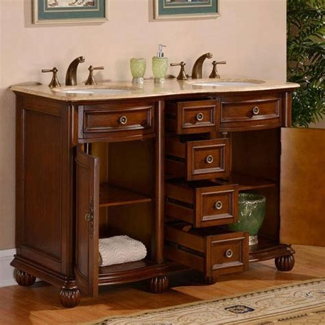 52 inch small double sink vanity with baltic brown countertop $2,273.00 $1,749.00 sku: Hera (double) 52-inch Traditional Bathroom Vanity