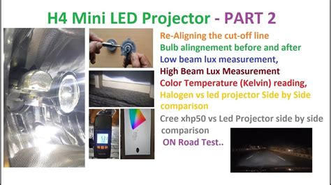 h4 len test h4 mini led projector part 2 brightness and road test