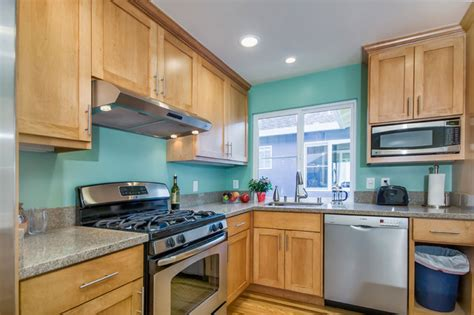 Light Teal Kitchen Cabinets by Teal Kitchen In Duplex Traditional Kitchen San