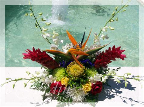 tropical splash flower arrangement le jardin florist