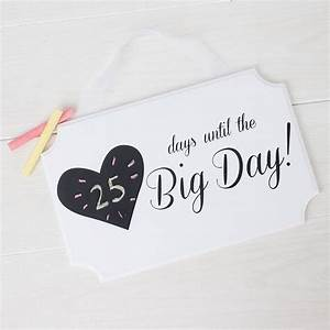 wedding date plaque days until the big day With wedding countdown gifts for bride