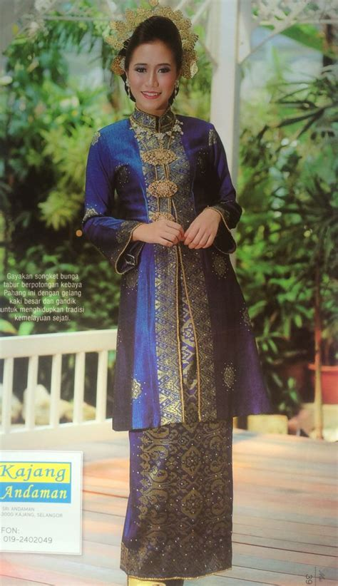 royal blue songket kebaya pahang outfit ideas