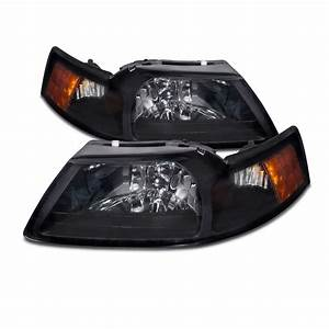1999-2004 Ford Mustang Headlights Black-Smoke Lens Headlamps W/Xenons Set Pair | eBay