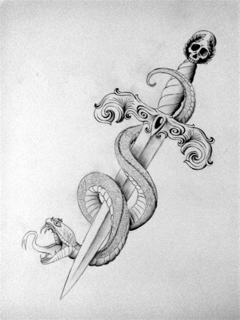 dagger  snake drawing tattoo scetch inspiration
