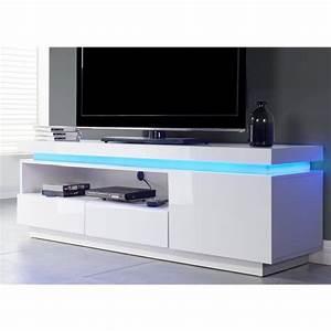 Meuble Tv Led Blanc Laqué : meuble tv blanc haut petite table tv maisonjoffrois ~ Teatrodelosmanantiales.com Idées de Décoration
