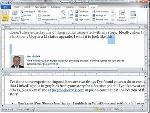 editing ms word 2010 docs in two places with split screen With word documents split