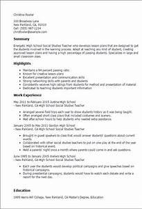 sample resume of a teacher in high school - professional high school social studies teacher templates