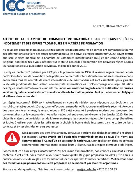 Alerte De La Chambre De Commerce Internationale Sur De
