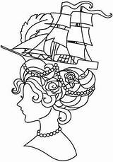 Marie Antoinette Coloring Embroidery Designs Urban Threads Pages Urbanthreads Steampunk French Patterns Getcolorings Ship Printable Getdrawings Name Cultures sketch template