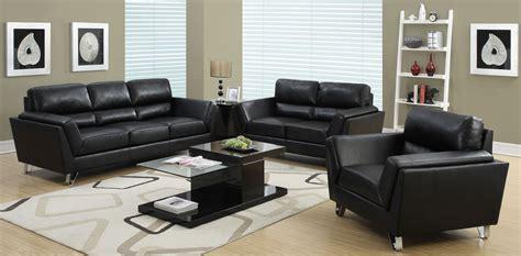 black leather living room set black bonded leather match living room set from monarch 16837