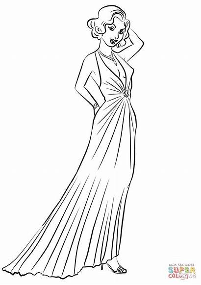 Coloring Dresses Evening 1930 Colorear Dibujos Printable