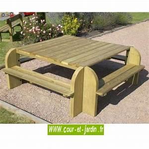 Table Bois Pique Nique : table picnic bois table pique nique avec banc bancs de jardin ~ Melissatoandfro.com Idées de Décoration