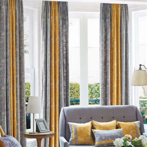 mustard yellow curtains mustard yellow and gray patterned modern room divider
