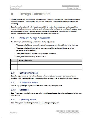 Software Design Documentation Template by Software Requirements Specification Ms Word Template