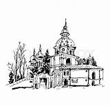 Monastery Sketch Drawing Clipart Vector London Getdrawings Eps Illustrations Cityscape Kyiv Background Skyline Building Clip sketch template