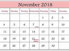 November Calendar 2018 Malaysia Printable Template Download