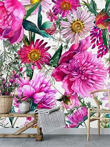 Bright, Pink, Floral, Mural, Removable, Wallpaper