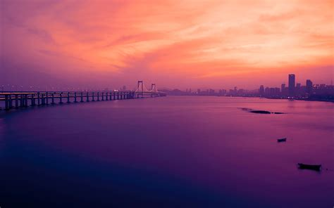 wallpaper xinghai bay bridge dalian china twilight