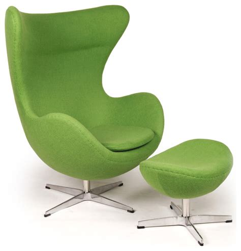 kardiel egg chair ottoman apple green boucle