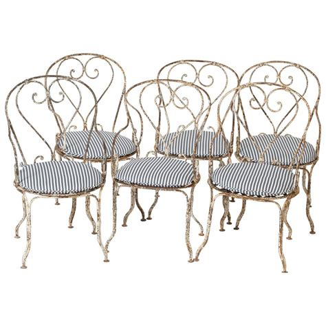 wrought iron a set of six antique wrought iron garden chairs
