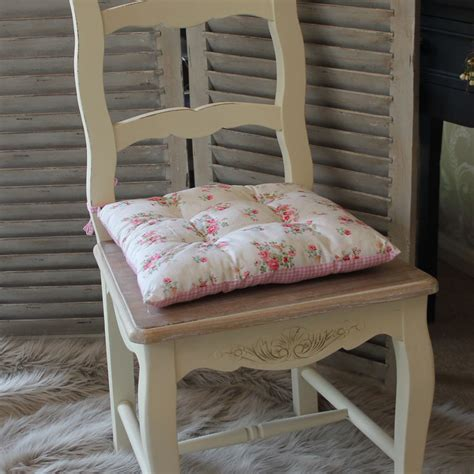 gingham pink rose vintage chic seat pad chair dining room