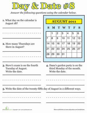 august 2011 calendar learning worksheet education com