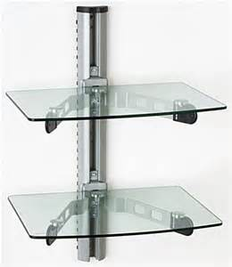 Glass TV Shelf for Wall Mount, Adjustable, In-Post Cable Management